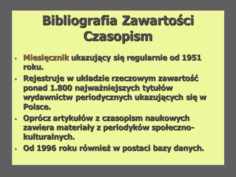 Bibliografia Zawartości Czasopism