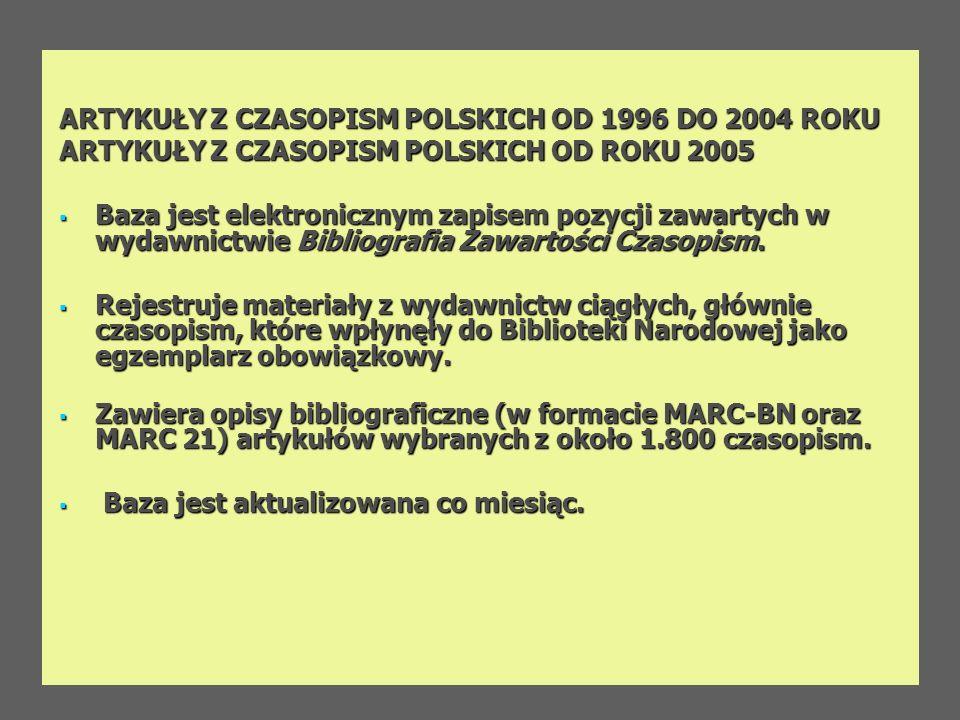ARTYKUŁY Z CZASOPISM POLSKICH OD 1996 DO 2004 ROKU