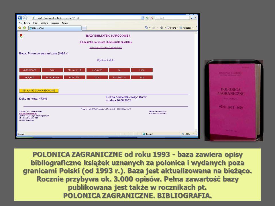 POLONICA ZAGRANICZNE od roku 1993 - baza zawiera opisy