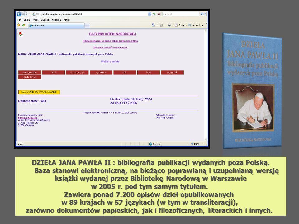DZIEŁA JANA PAWŁA II : bibliografia publikacji wydanych poza Polską.