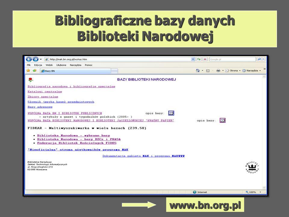 Bibliograficzne bazy danych Biblioteki Narodowej