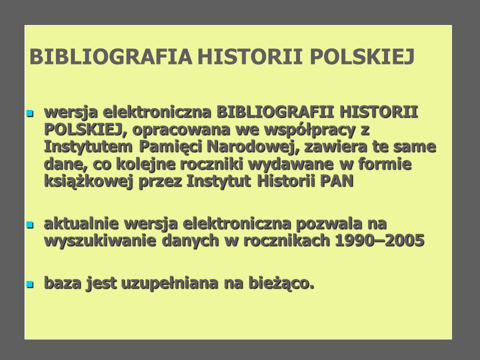 BIBLIOGRAFIA HISTORII POLSKIEJ