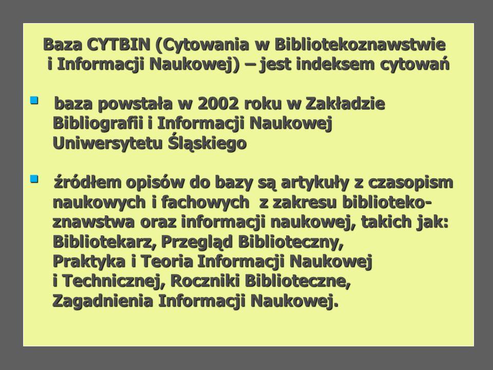 Baza CYTBIN (Cytowania w Bibliotekoznawstwie