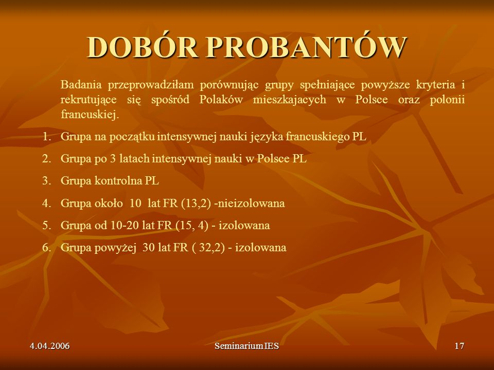 DOBÓR PROBANTÓW