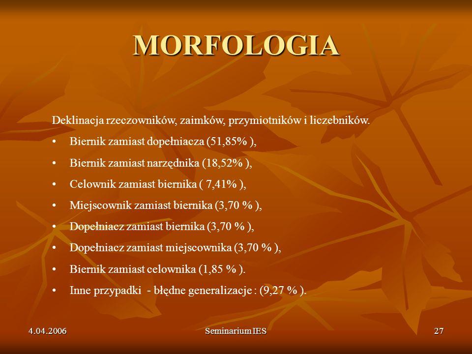 MORFOLOGIA Deklinacja rzeczowników, zaimków, przymiotników i liczebników. Biernik zamiast dopełniacza (51,85% ),