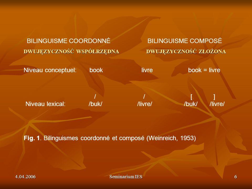 BILINGUISME COORDONNÉ BILINGUISME COMPOSÉ