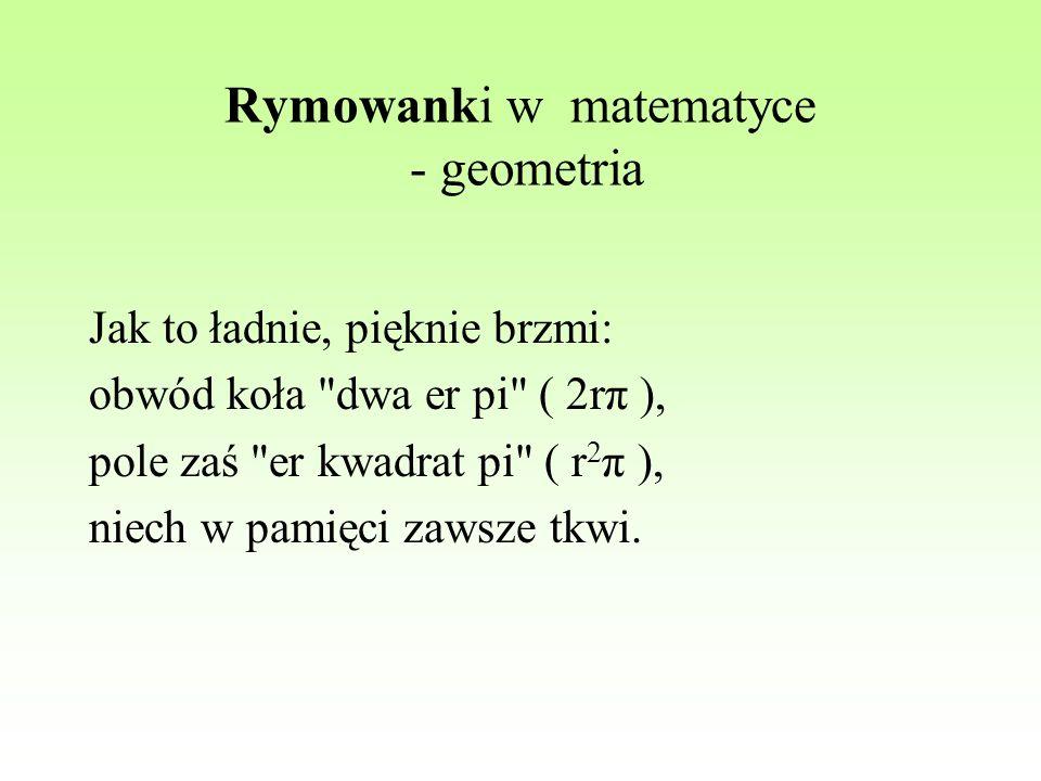 Rymowanki w matematyce - geometria