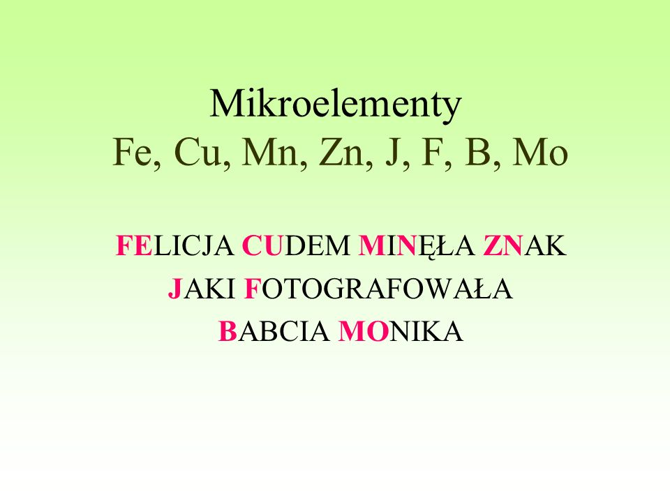 Mikroelementy Fe, Cu, Mn, Zn, J, F, B, Mo