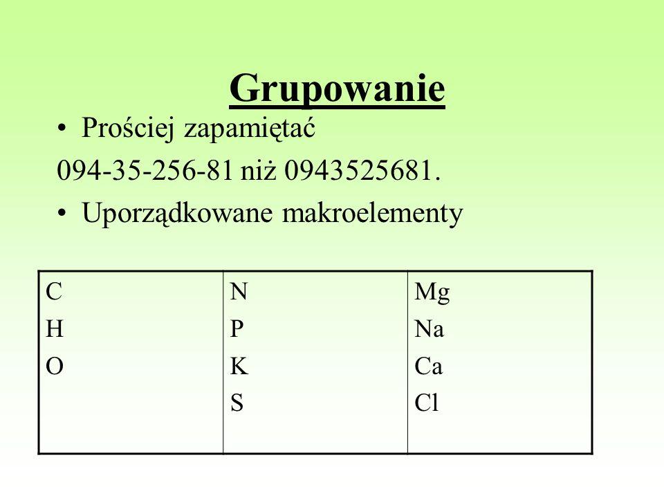 Grupowanie Prościej zapamiętać 094-35-256-81 niż 0943525681.