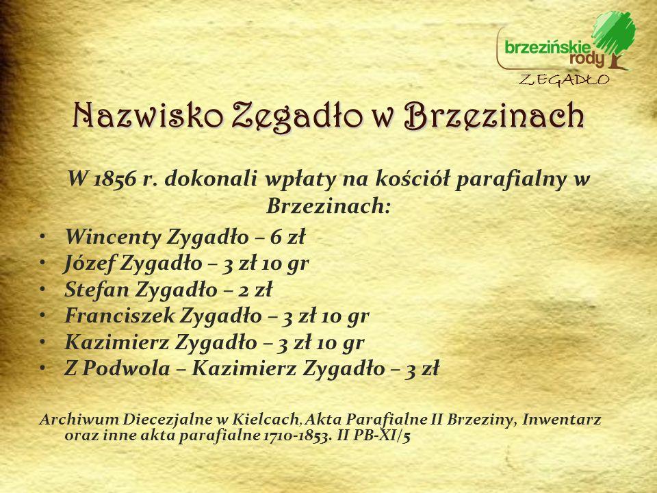 W 1856 r. dokonali wpłaty na kościół parafialny w Brzezinach: