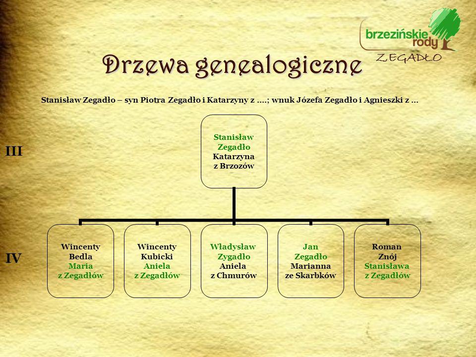Drzewa genealogiczne ZEGADŁO III IV