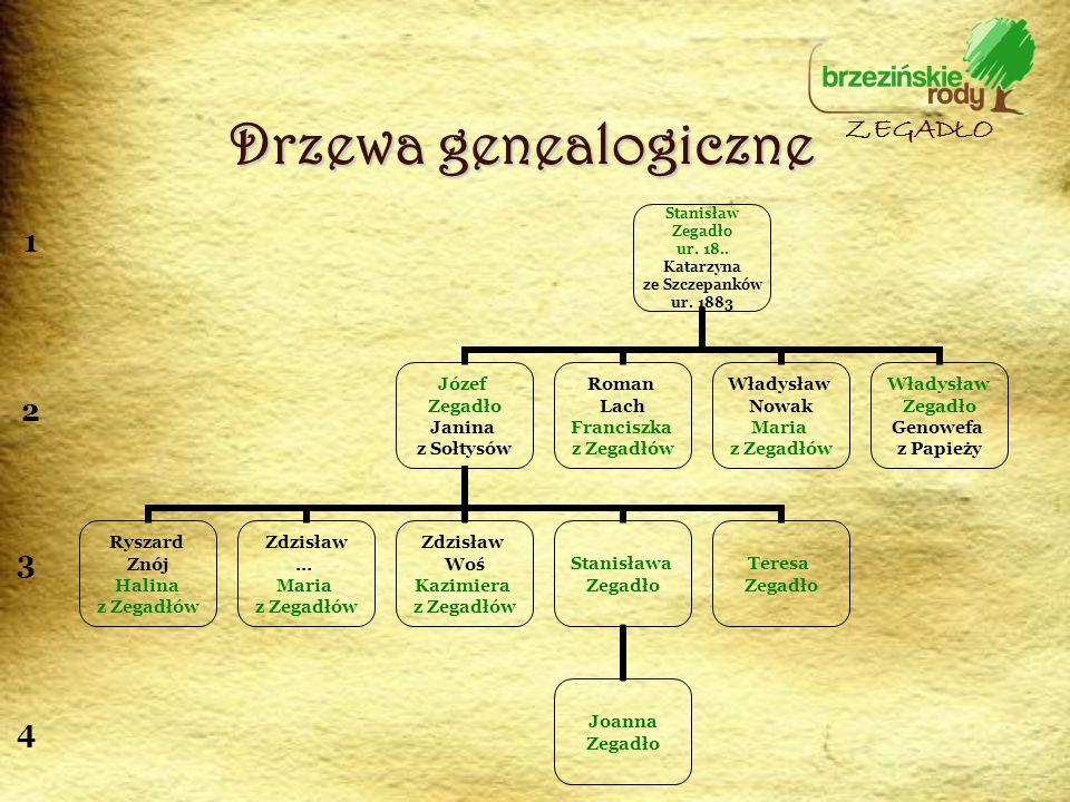 Drzewa genealogiczne ZEGADŁO 1 2 3 4