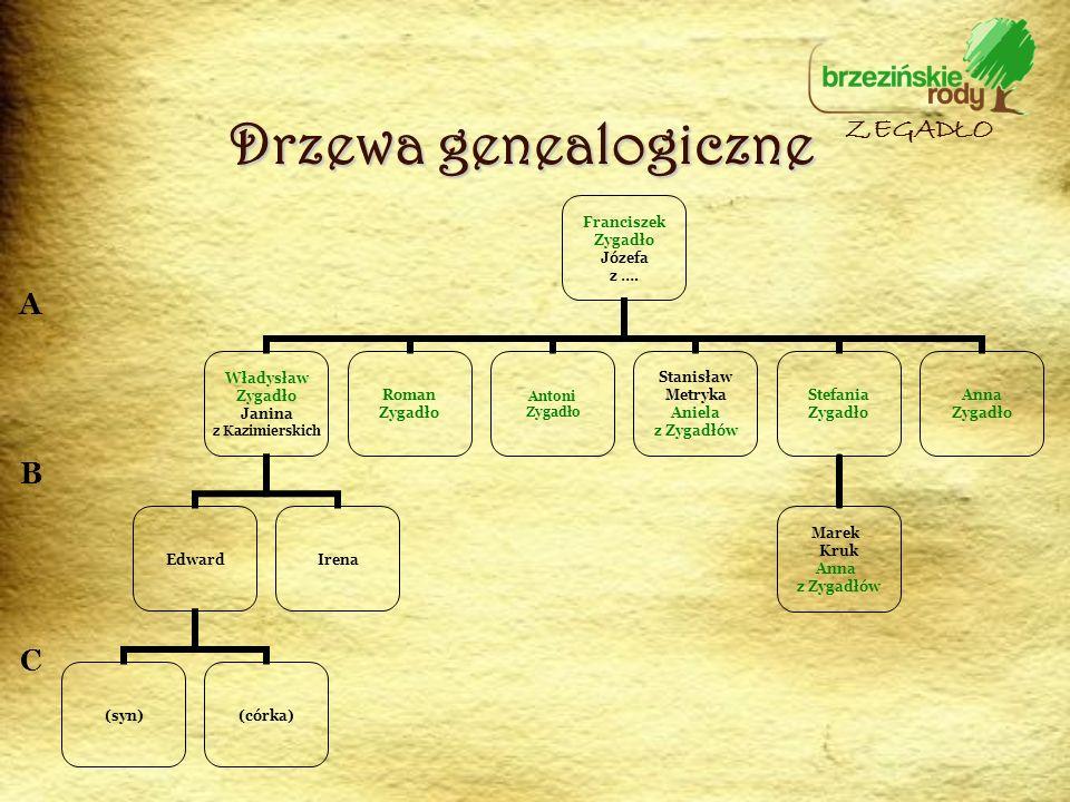 Drzewa genealogiczne ZEGADŁO A B C