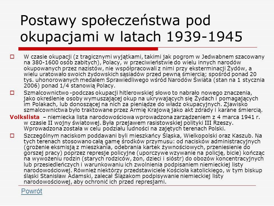 Postawy społeczeństwa pod okupacjami w latach 1939-1945