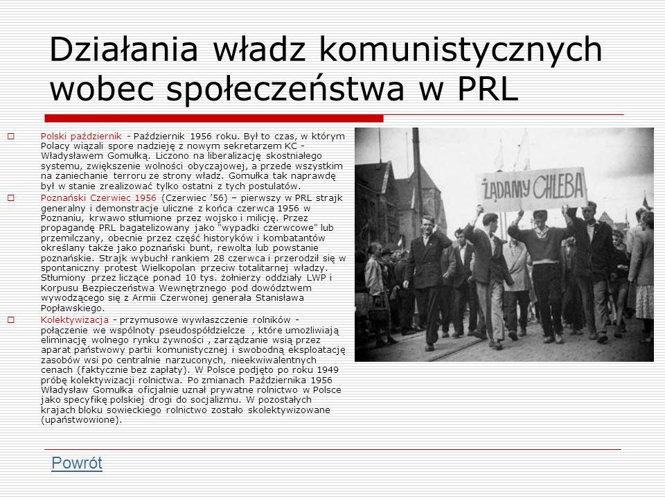 Działania władz komunistycznych wobec społeczeństwa w PRL
