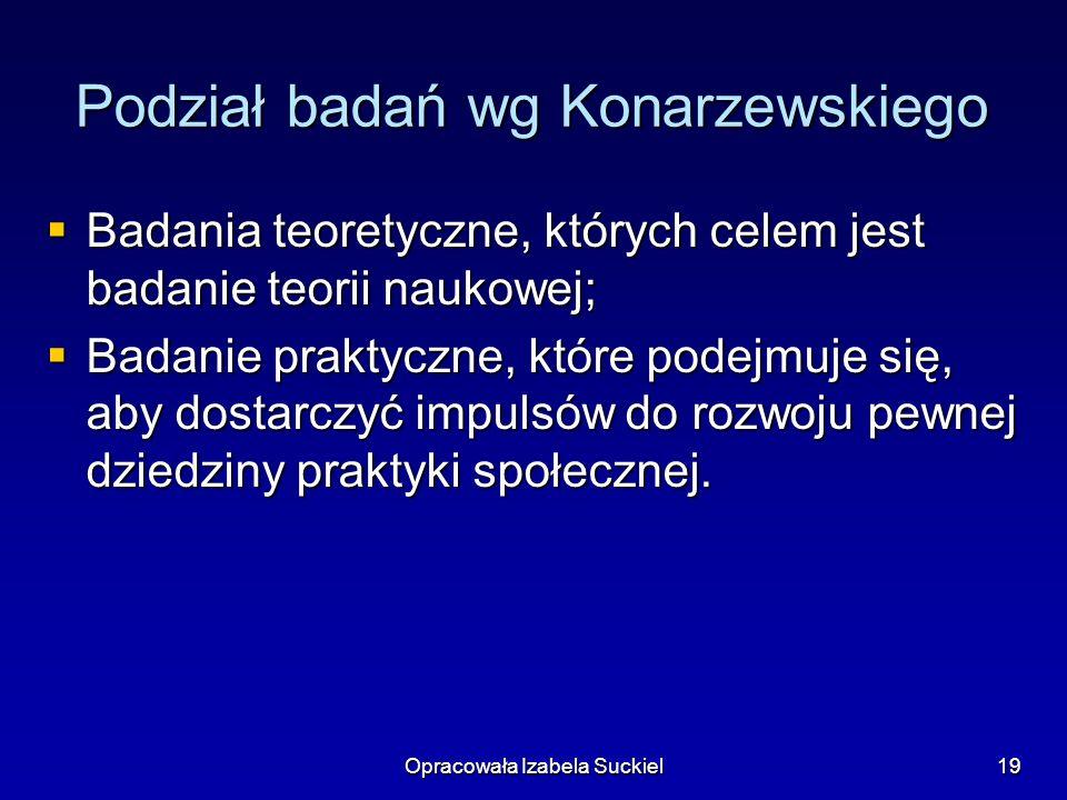 Podział badań wg Konarzewskiego