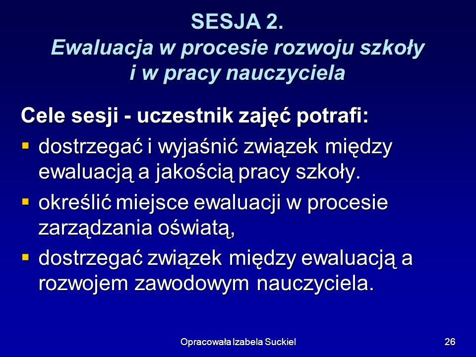 SESJA 2. Ewaluacja w procesie rozwoju szkoły i w pracy nauczyciela