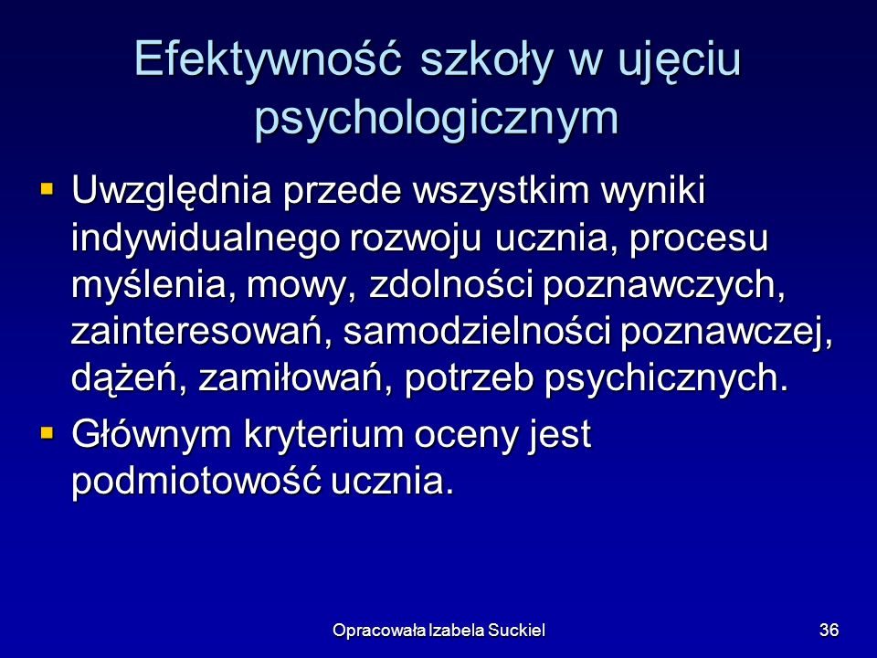 Efektywność szkoły w ujęciu psychologicznym