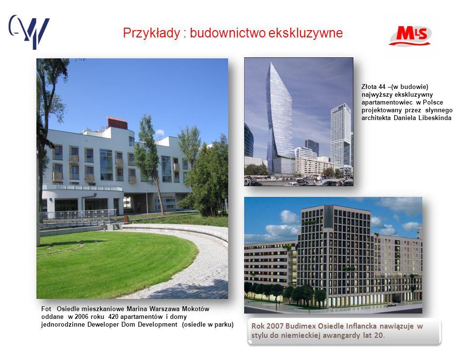 Przykłady : budownictwo ekskluzywne