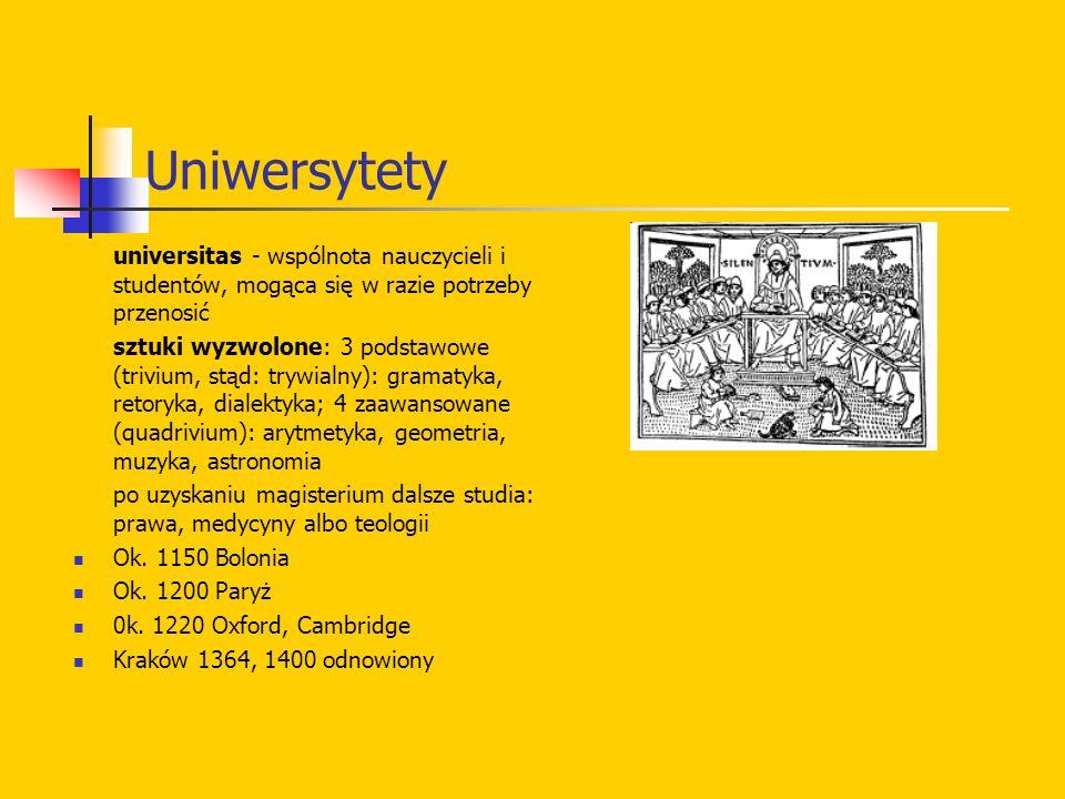Uniwersytety universitas - wspólnota nauczycieli i studentów, mogąca się w razie potrzeby przenosić.