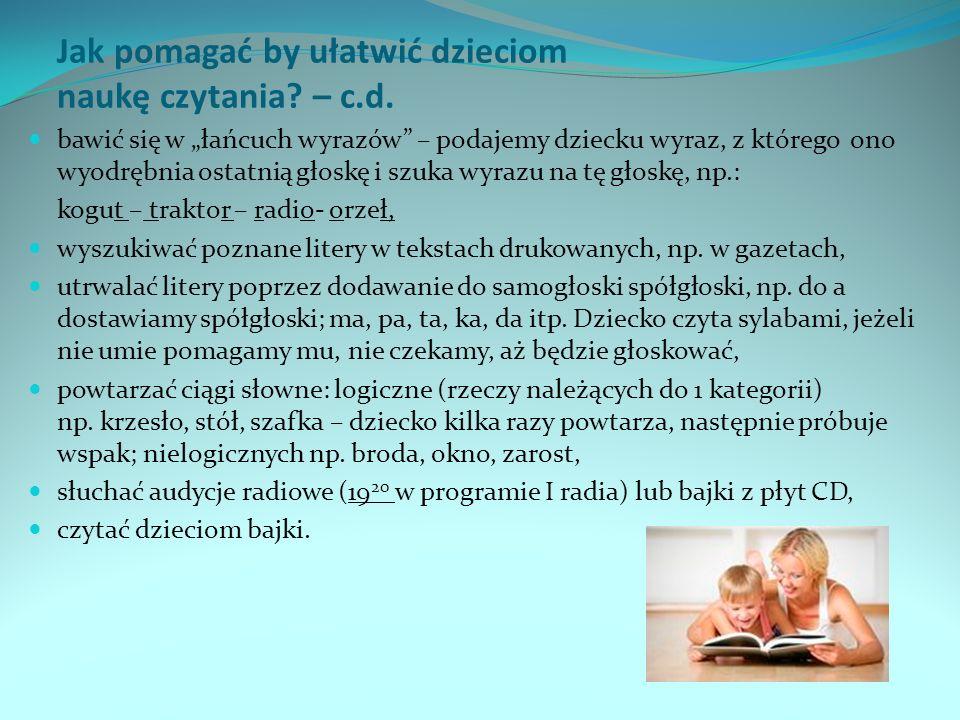 Jak pomagać by ułatwić dzieciom naukę czytania – c.d.
