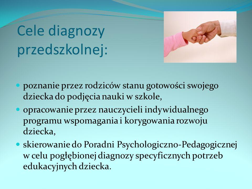 Cele diagnozy przedszkolnej: