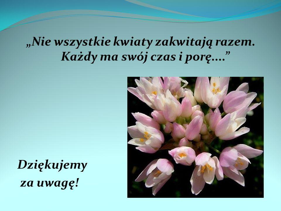 """""""Nie wszystkie kwiaty zakwitają razem. Każdy ma swój czas i porę...."""