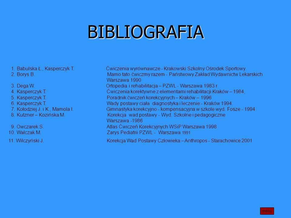 BIBLIOGRAFIA 1. Babulska Ł., Kasperczyk T. Ćwiczenia wyrównawcze - Krakowski Szkolny Ośrodek Sportowy.