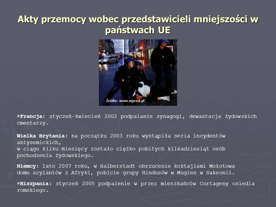 Akty przemocy wobec przedstawicieli mniejszości w państwach UE