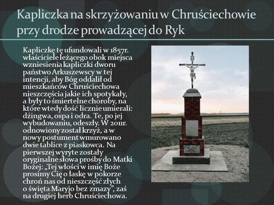 Kapliczka na skrzyżowaniu w Chruściechowie przy drodze prowadzącej do Ryk