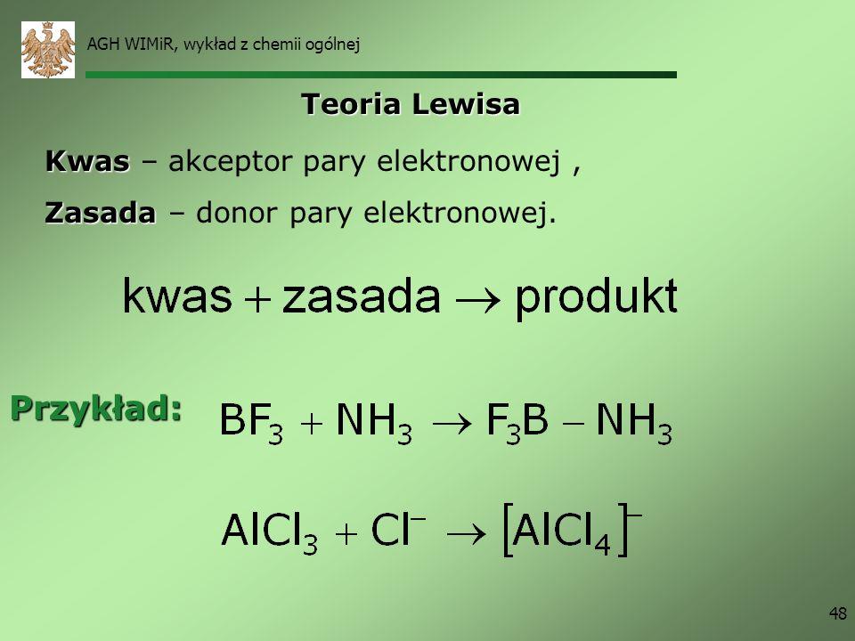 Przykład: Teoria Lewisa Kwas – akceptor pary elektronowej ,