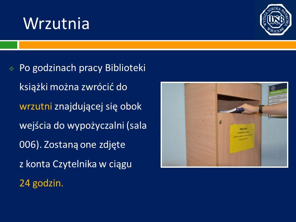 Wrzutnia Po godzinach pracy Biblioteki książki można zwrócić do wrzutni znajdującej się obok wejścia do wypożyczalni (sala 006). Zostaną one zdjęte.