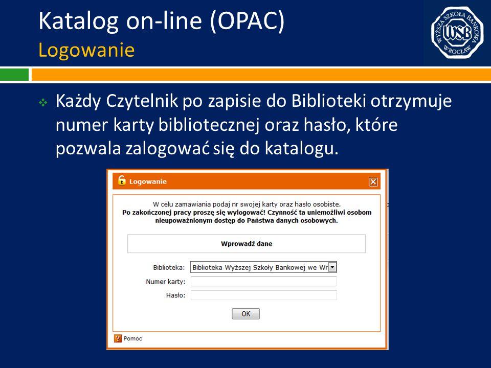 Katalog on-line (OPAC) Logowanie
