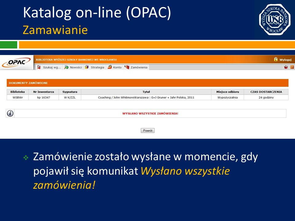 Katalog on-line (OPAC) Zamawianie