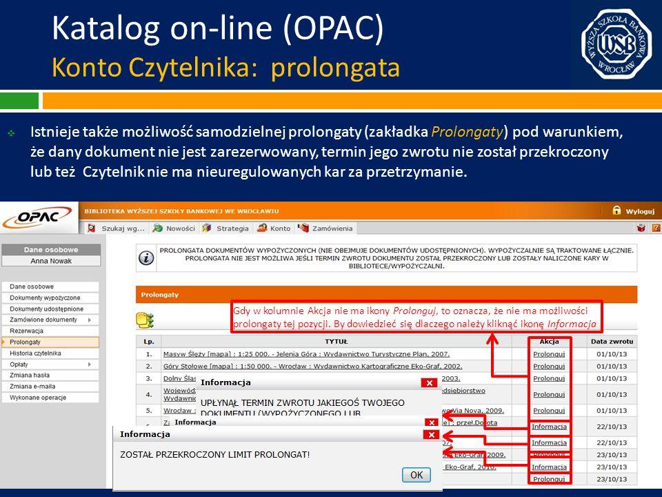 Katalog on-line (OPAC) Konto Czytelnika: prolongata