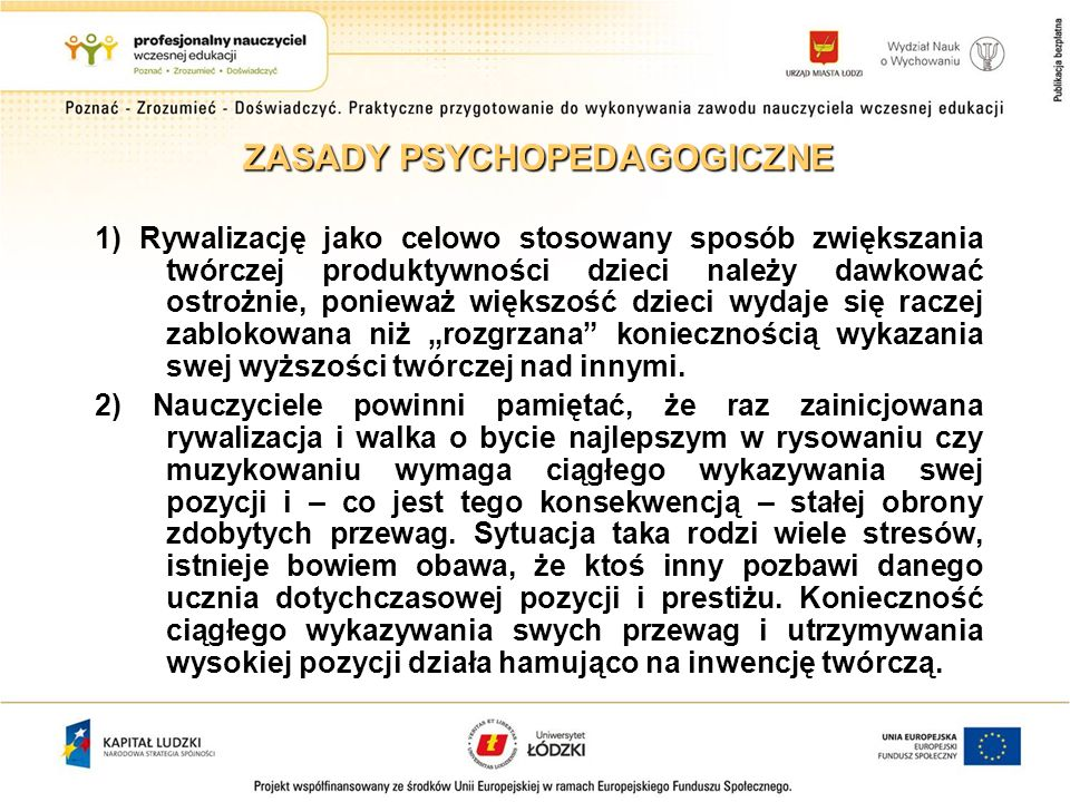 ZASADY PSYCHOPEDAGOGICZNE