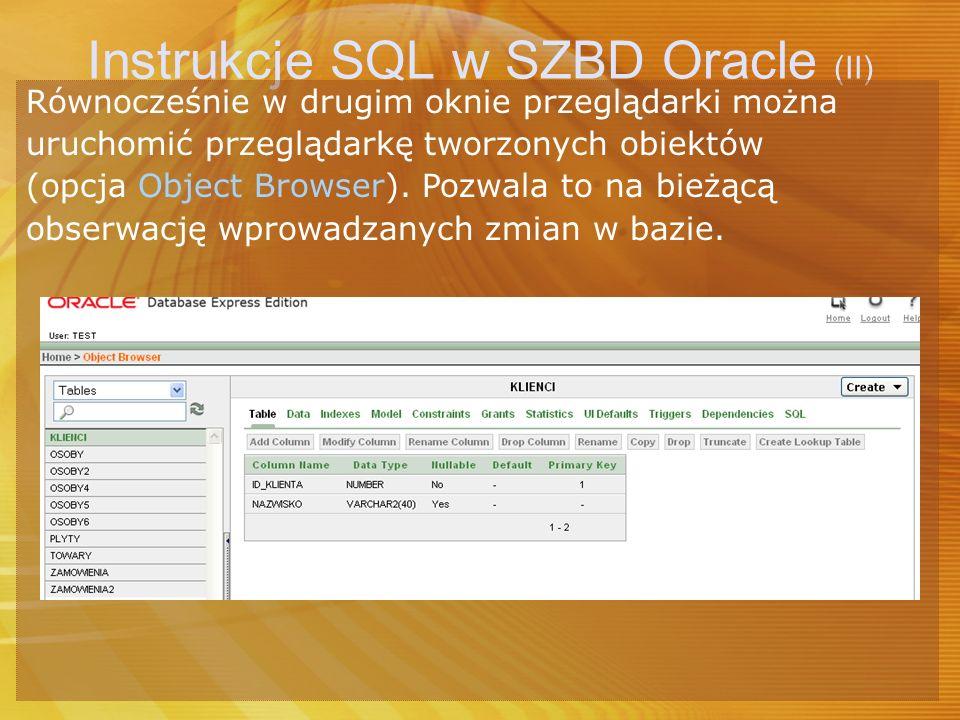 Instrukcje SQL w SZBD Oracle (II)