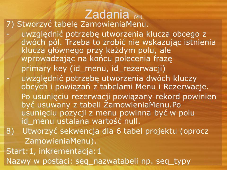 Zadania (VII) 7) Stworzyć tabelę ZamowieniaMenu.