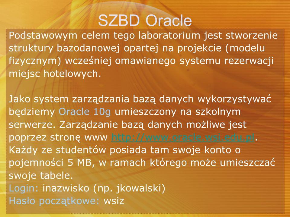 SZBD Oracle Podstawowym celem tego laboratorium jest stworzenie