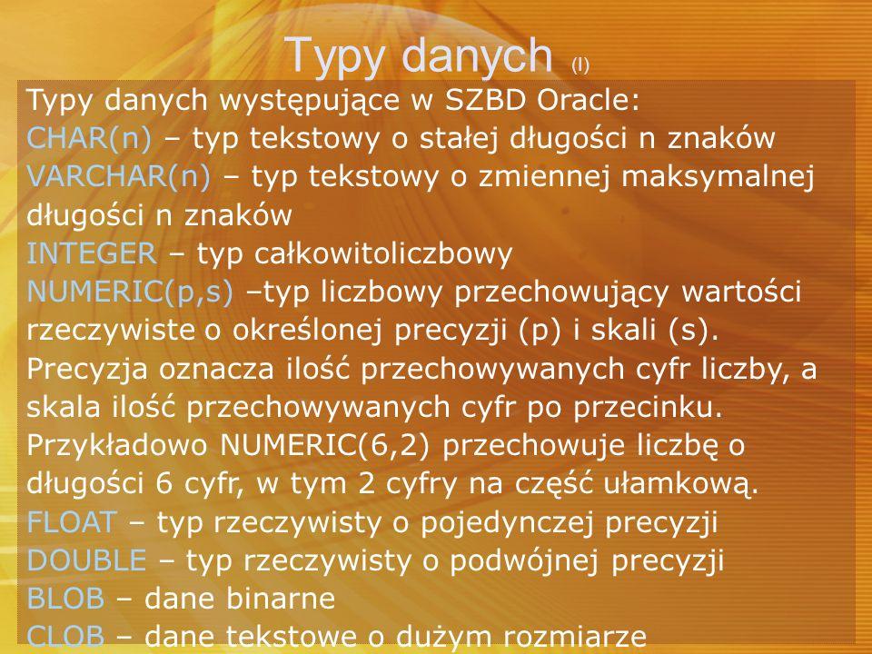 Typy danych (I) Typy danych występujące w SZBD Oracle: