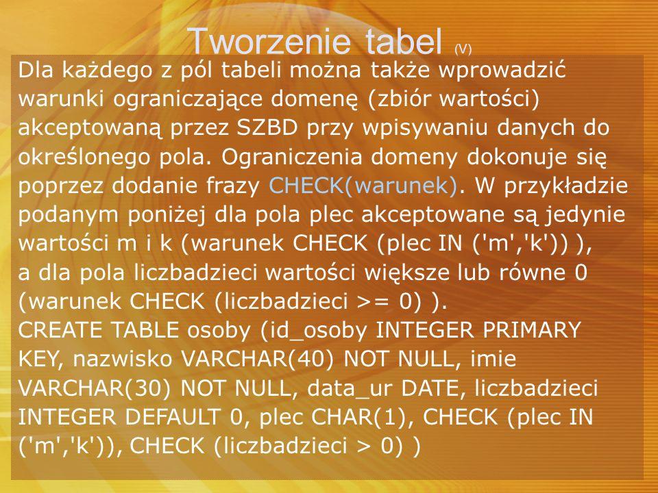 Tworzenie tabel (V) Dla każdego z pól tabeli można także wprowadzić