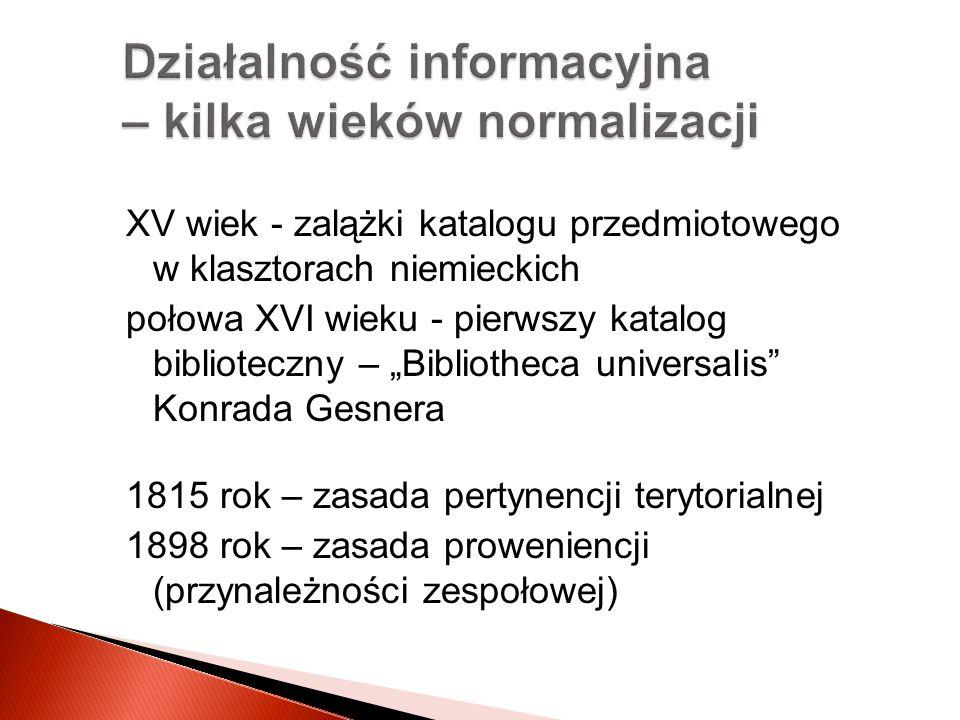 Działalność informacyjna – kilka wieków normalizacji