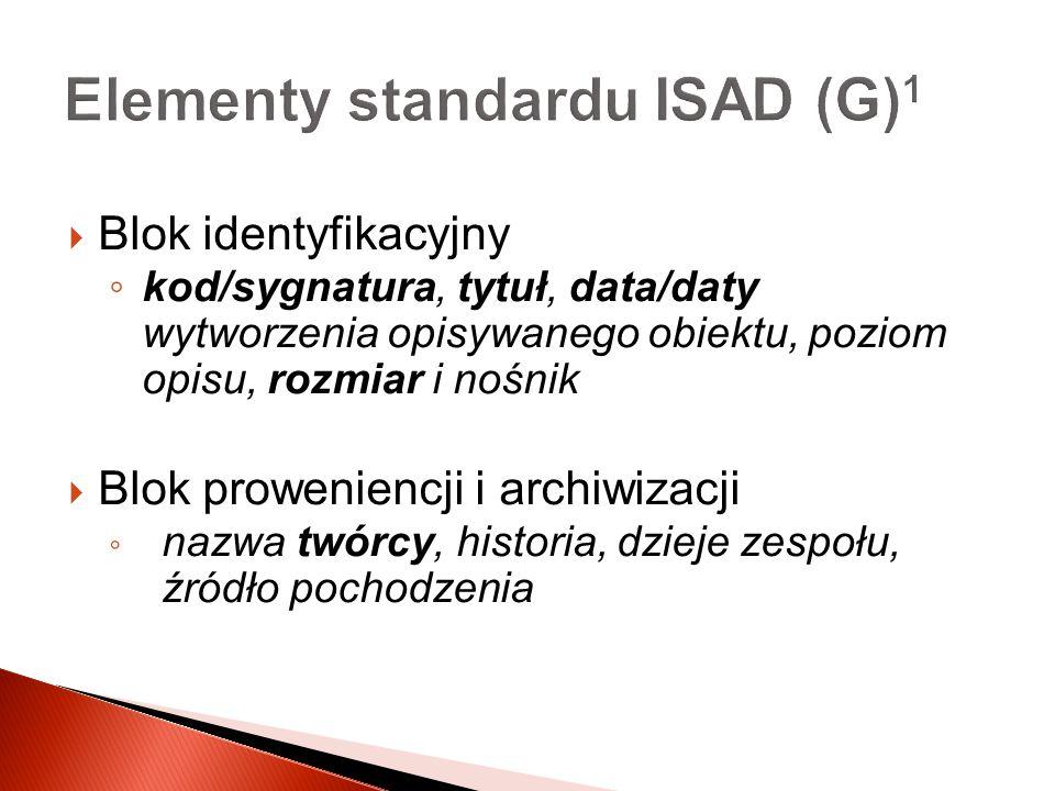 Elementy standardu ISAD (G)1