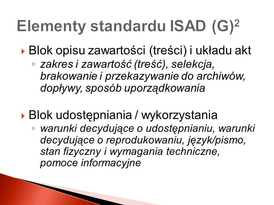 Elementy standardu ISAD (G)2