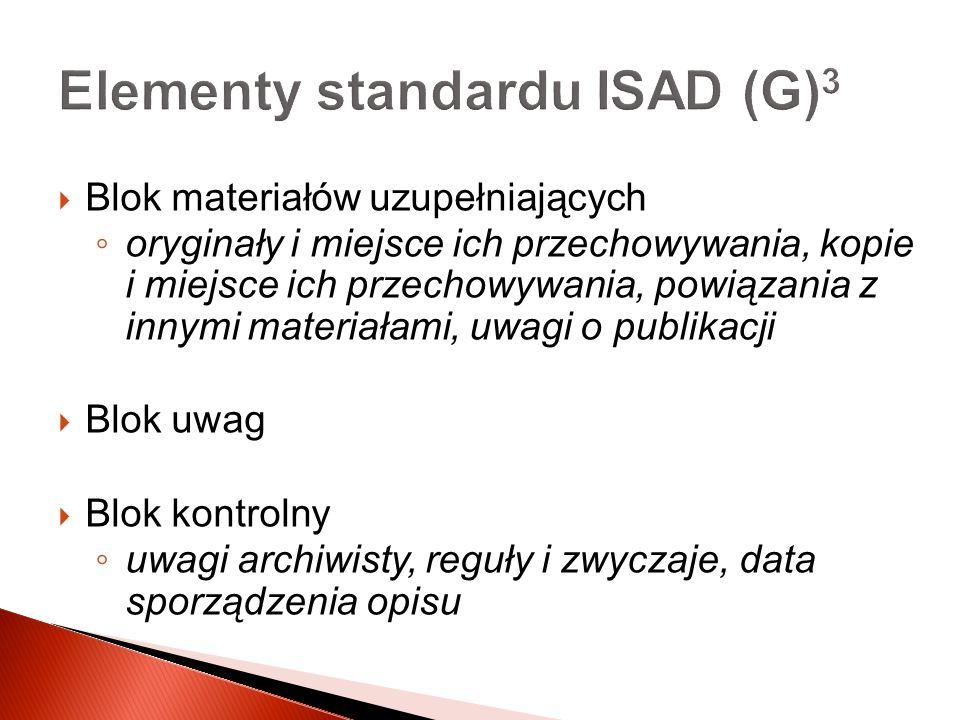 Elementy standardu ISAD (G)3