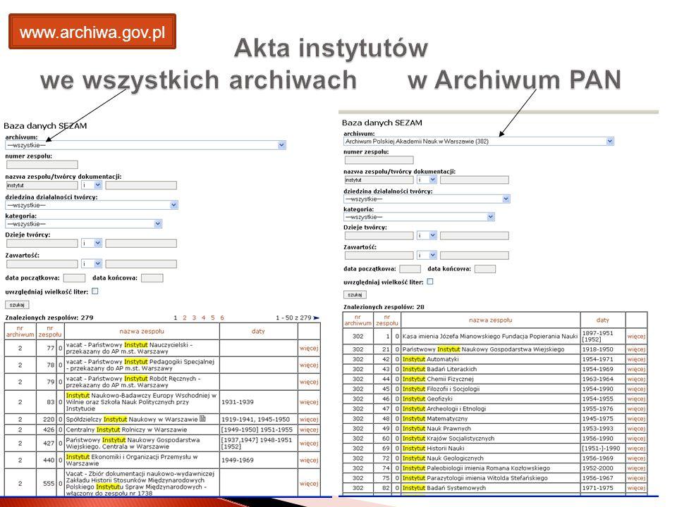 Akta instytutów we wszystkich archiwach w Archiwum PAN