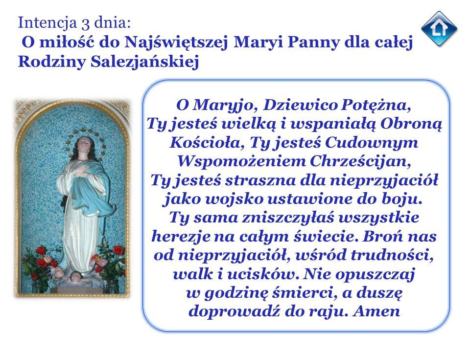 Intencja 3 dnia: O miłość do Najświętszej Maryi Panny dla całej Rodziny Salezjańskiej