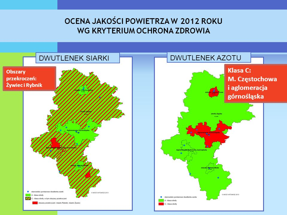 OCENA JAKOŚCI POWIETRZA W 2012 ROKU WG KRYTERIUM OCHRONA ZDROWIA