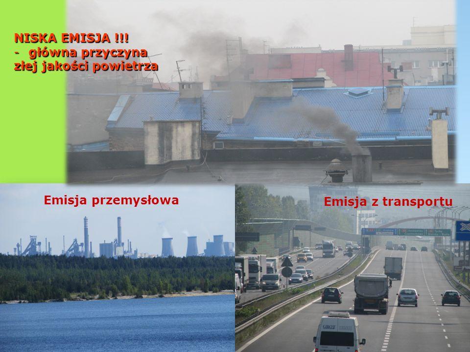 NISKA EMISJA !!! główna przyczyna złej jakości powietrza Emisja przemysłowa Emisja z transportu