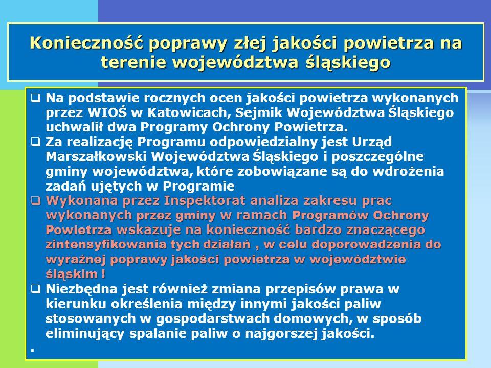 Konieczność poprawy złej jakości powietrza na terenie województwa śląskiego